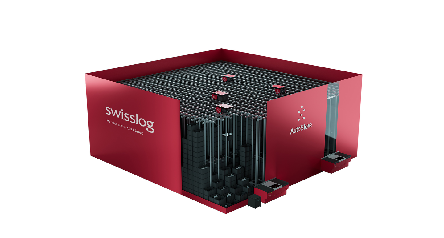 Swisslog's AutoStore is a compact, robot-based automated storage and retrieval system that supports goods-to-person or goods-to-robot picking. Swisslog